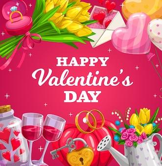 San valentino amore regali di festa, cuori e fiori, fidanzamento e fedi nuziali