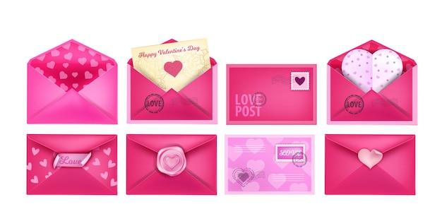 Set realistico di buste per lettere d'amore di san valentino con cartoline a forma di cuore, ceralacca. vacanze romantiche raccolte di posta aperta e chiusa in rosa. buste isolate di giorno di biglietti di s. valentino