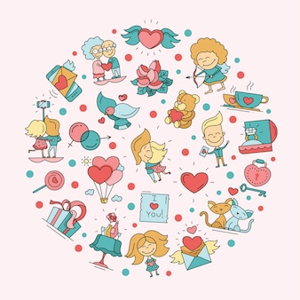 Cartolina di san valentino amore e romanticismo icone Vettore Premium