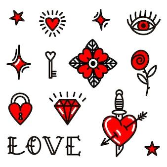 Simboli di amore di san valentino in stile vecchia scuola.