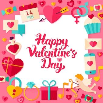 Concetto di carta di san valentino. concetto di saluti di amore di stile piano dell'illustrazione di vettore con l'iscrizione.