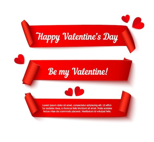 Banner di nastro ricciolo di carta di san valentino