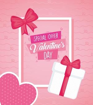 Iscrizione di poster di san valentino con regalo e cuore in cornice quadrata