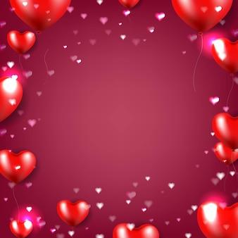 Poster di san valentino con sfondo rosso cuori rossi Vettore Premium