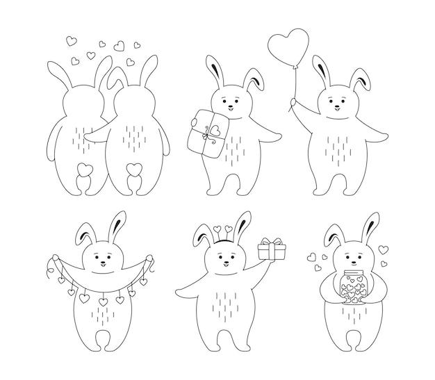 Insieme del profilo del nero del coniglio di san valentino