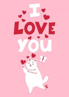 Cartolina d'auguri di romanticismo di san valentino con il gatto.