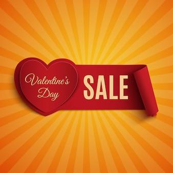 Banner di vendita di san valentino, su sfondo arancione raggi di luce.