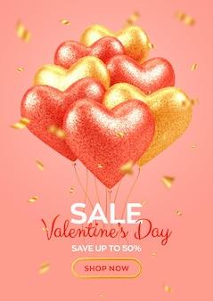 Banner di vendita di san valentino con brillanti cuori di palloncini 3d realistici rossi e oro con texture glitter e coriandoli.