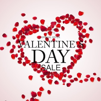 Vendita di san valentino, carta sconto con petali di rosa.