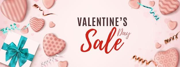 Banner orizzontale di vendita di san valentino.