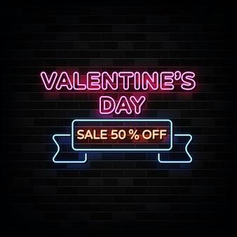 Insegne al neon di vendita di san valentino. modello di disegno in stile neon