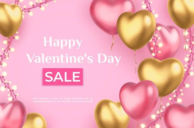 Manifesto di vendita di san valentino con palloncini cuore e luci ghirlanda. cuori rosa e dorati di vacanza di amore realistico 3d, insegna di vettore di sconto. negozio o negozio offerta promozionale, evento romantico