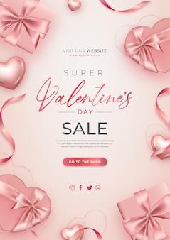 Banner realistico di vendita di san valentino