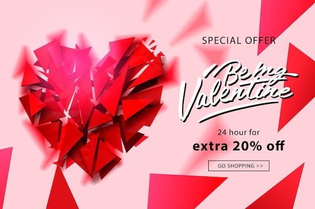 Banner web di vendita di san valentino, illustrazione vettoriale.