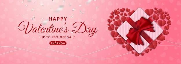 Vendita di san valentino con cuore e confezione regalo.