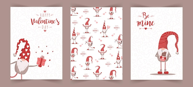 Carte scandinave di san valentino con piccoli gnomi in cappelli rossi