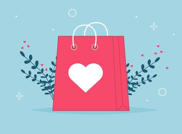 Shopping bag di san valentino con lista dei negozi. amore sacchetto di carta regalo. confezione shopper del negozio di moda. pacchetto cliente con cuori per vendita presente di vacanza. sorpresa di illustrazione.