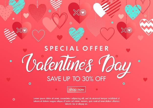 Banner di offerta speciale di san valentino con cuori diversi. modello di banner di vendita