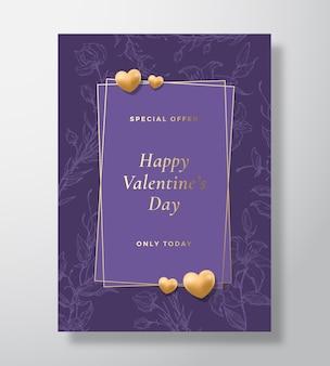 Manifesto di biglietto di auguri di vettore di offerta speciale di san valentino o sfondo di vacanza elegante viola e oro...