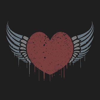 Cuore di amore alato di san valentino con maglietta effetto grunge