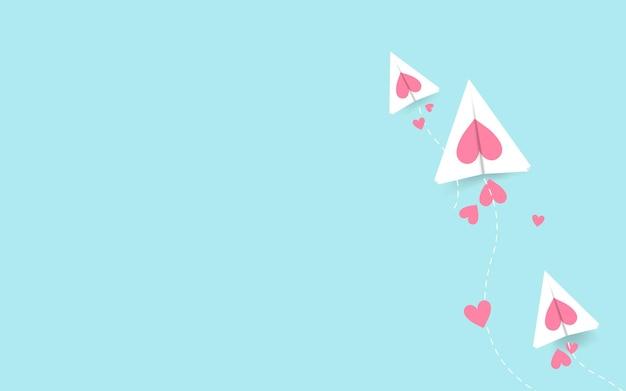 San valentino con aeroplano tagliato e cuori, concetto di arte di carta.