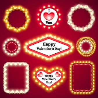 Set di decorazioni di luci di san valentino3 Vettore Premium