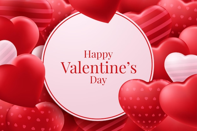 Disegno del manifesto di vettore di palloncini cuore rosso san valentino