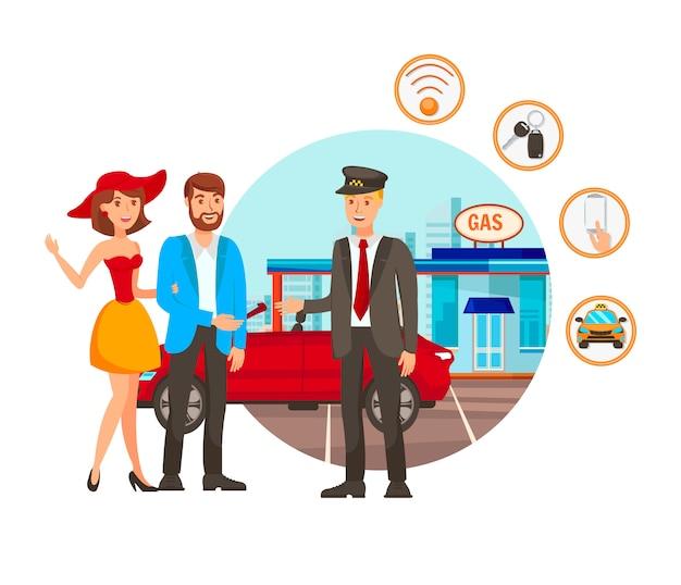 Illustrazione di vettore di servizio di parcheggio di valet