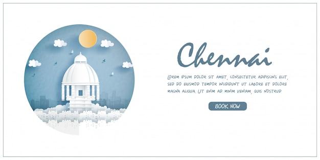 Valluvar kottam, chennai, india. punto di riferimento di fama mondiale con cornice bianca ed etichetta. cartolina di viaggio e poster, brochure, illustrazione pubblicitaria.
