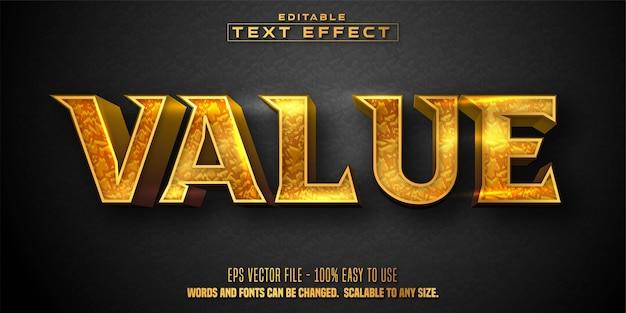 Testo di valore, effetto di testo modificabile in stile dorato