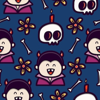 Vampiro doodle cartoon seamless pattern design