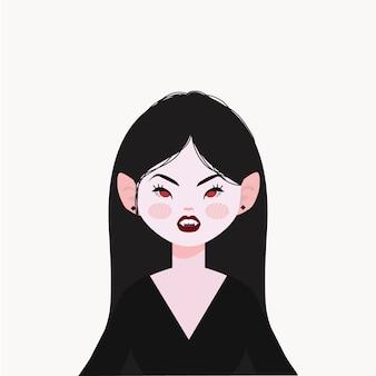 Illustrazione della ragazza del vampiro. vampiro bello e fico.