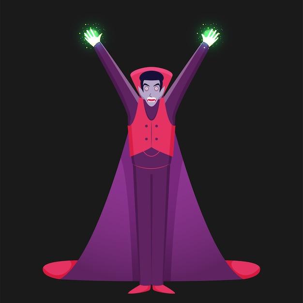 Vampiro in mani in alto posizione illustrazione