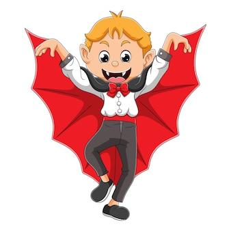 L'uomo vampiro mostra le ali di pipistrello con la faccia felice dell'illustrazione