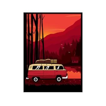 Van auto sulla collina