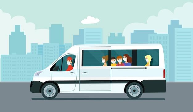 Van auto con passeggeri sullo sfondo di un paesaggio urbano astratto. illustrazione vettoriale.