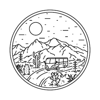 Van desert mountain nature illustration