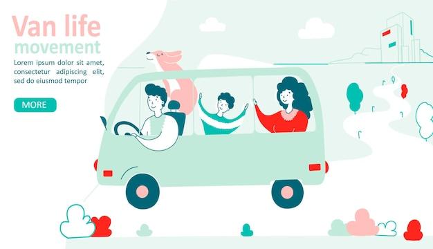 Concetto di stile di vita del movimento della vita del furgone famiglia in un cane che viaggia in un furgone