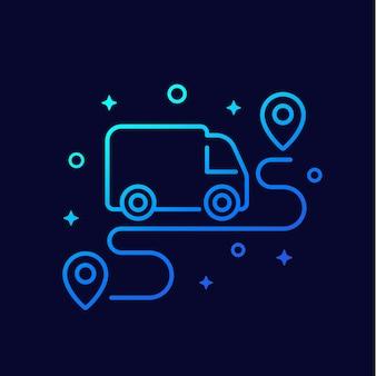 Icona lineare di furgone e percorso
