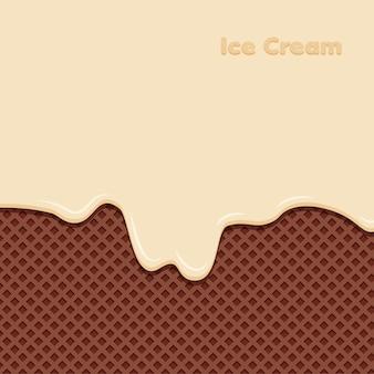 Crema alla vaniglia sciolta su sfondo di cialda al cioccolato. gelato dolce.