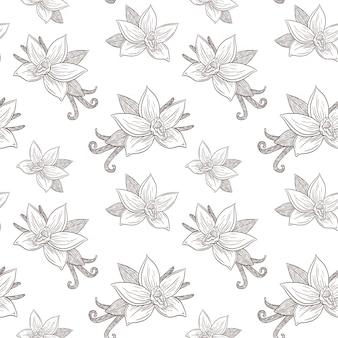 Reticolo senza giunte dei fiori e dei baccelli della vaniglia. stile vintage. line art ornamento di spezie inciso per sfondo, carta da imballaggio, menu, ricetta, tessuto, carta da parati, spa e prodotti per la cura della bellezza. vettore premium