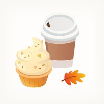 Cupcake vaniglia e noci con panna e bicchiere di carta caffè