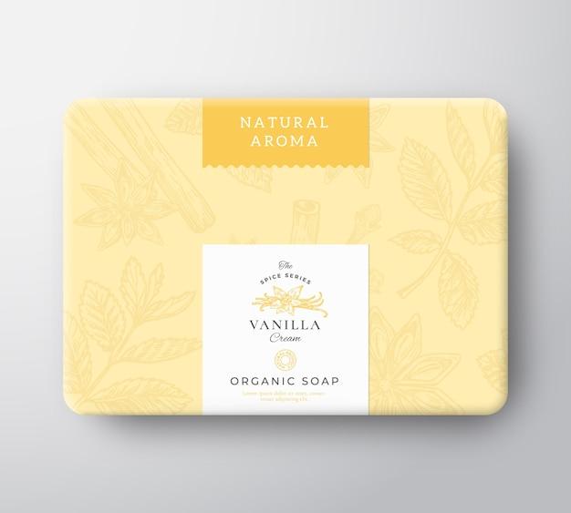 Scatola di cartone di sapone alla vaniglia. mockup del contenitore di carta avvolto. confezione