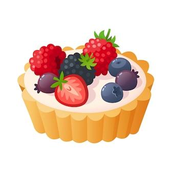 Torta alla vaniglia con frutta in cima. illustrazione isolata