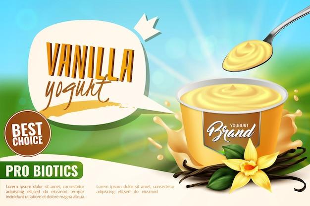 Banner pubblicitario realistico di prodotti lattiero-caseari con aromi naturali sani di yogurt alla vaniglia