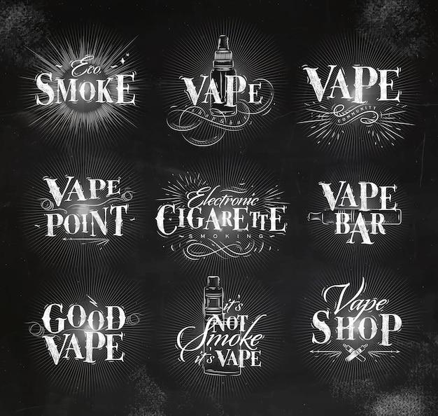 Etichette vape in vintage lettering fumo eco, barra vape, non fuma disegnando con il gesso
