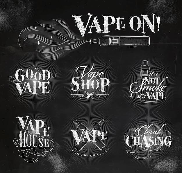 Etichette di vape in stile vintage con scritte di buon vape, nuvole che inseguono