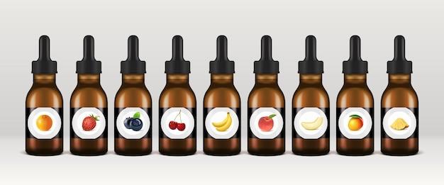 Bottiglie di liquidi vape set di contagocce eliquid vettoriali arancio fragola e altri aromi di frutta