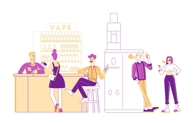 Vape shop business concept illustrazione