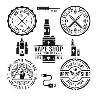 Negozio di vape e set di sigarette elettroniche di etichette monocromatiche ed elementi di design isolati su priorità bassa bianca
